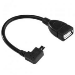 USB変換ショートケーブル/USBメス→MicroUSBオス L字