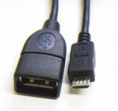 USB変換ショートケーブル/USBメス→MicroUSBオス