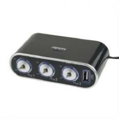 3連シガーソケット+USB充電ポート ON/OFFスイッチ付き