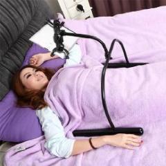 寝ながらやiPad・タブレットに最適 フレキシブルアーム付きスタンド ブラック
