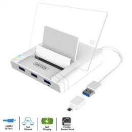 UNITEK USB2.0 3ポート充電機能付き HUB+Fast Ethernet OTG Dock Y-2175